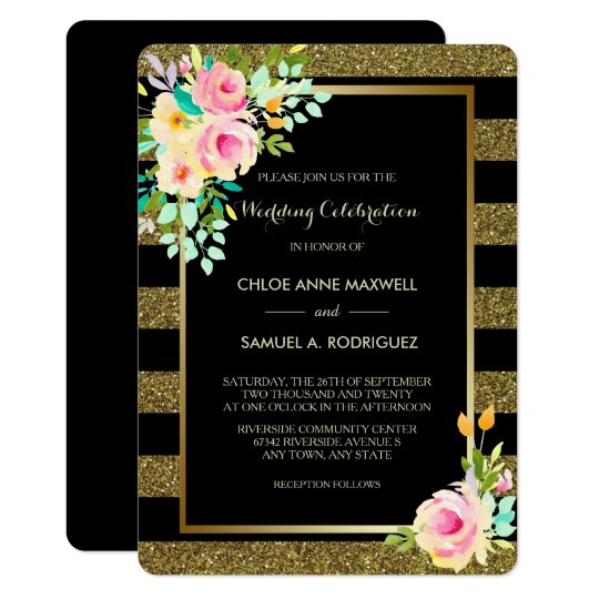 Faux Glitter Gold Stripe Roses Wedding Invitation