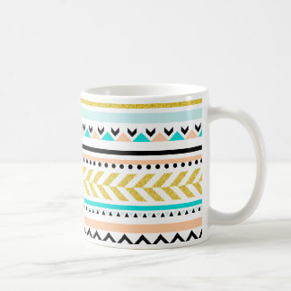Faux Glitter Gold, Turquoise, Coral Aztec Pattern Coffee Mug