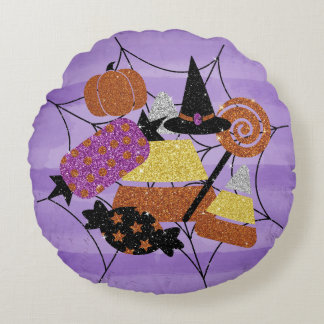Faux Glitter Halloween Candy Spider Web Collage Round Pillow
