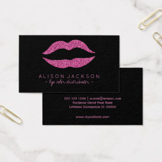 Faux glitter lips pink black lip color distributor business card