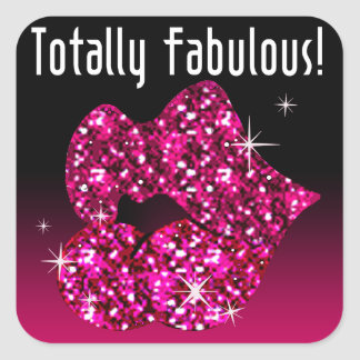 (faux) Glitter Lips Totally Fabulous fuschia Square Sticker