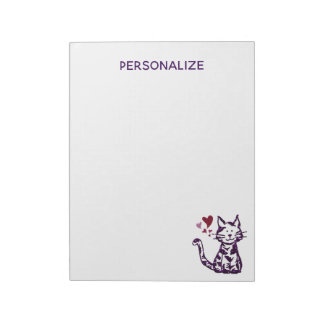 Faux Glitter Purple Cat with Hearts Notepad