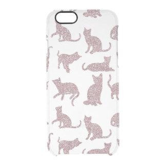 Faux Glitter Purple Cats Clear iPhone 6/6s Case