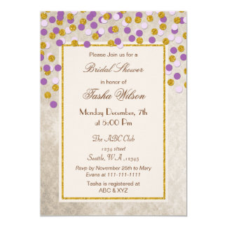 FAUX Glitter purple Gold confetti Bridal Shower Card