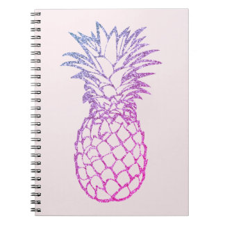 Faux Glitter Purple Pineapple Pink Spiral Notebook