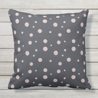 FAUX glitter rose gold blush dotty pattern Outdoor Pillow
