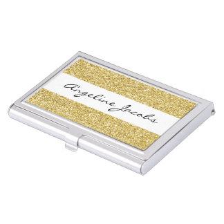 Faux Glitter Script Business Card Case