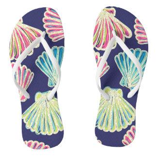 Faux Glitter Seashells Flip Flops