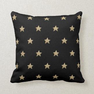 Faux Glitter Stars | Black Throw Pillow Cushion