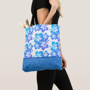 Faux Glitter & Tropical Flower Tote Bag