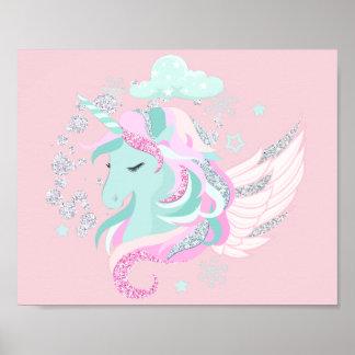 Faux Glitter Unicorn Poster Print