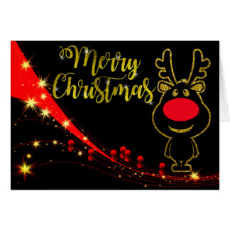 Faux glittery Rudolph Greeting Card