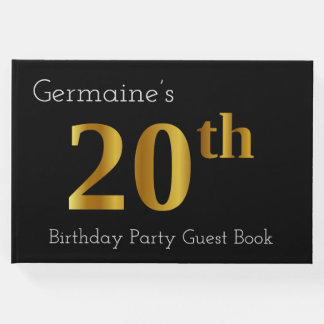 Faux Gold 20th Birthday Party Guest Book