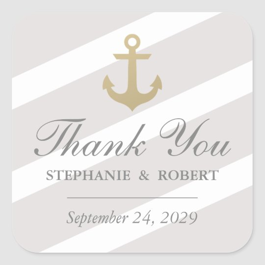 Faux Gold Anchor Nautical Thank You Favour Square Sticker