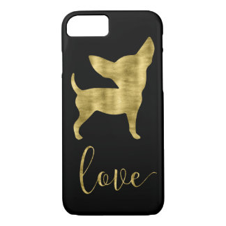 Faux Gold And Black Chihuahua Love Iphone 8 Case