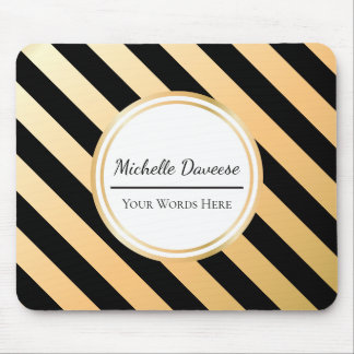 Faux Gold and Black Stripe | Mousepad