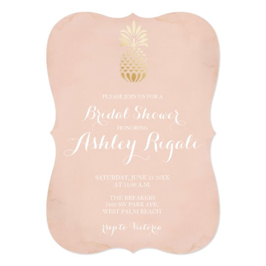 Faux Gold and Blush Bridal or Baby Shower Invite