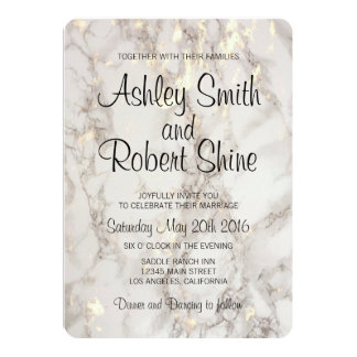 Faux Gold and Marble 5x7 Wedding Invitation