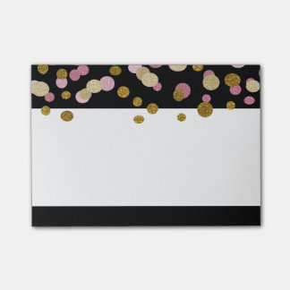 FAUX Gold And Pink Glitter Dots (printed flat) Post-it Notes