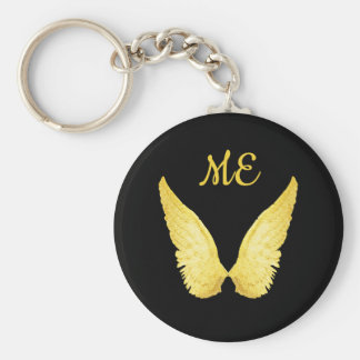 Faux gold angel wings on black with monogram keychain