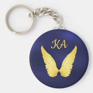 Faux gold angel wings on blue with monogram keychain