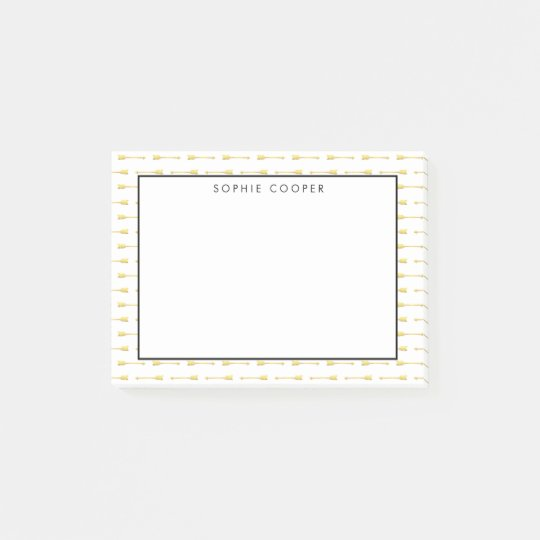Faux Gold Arrows Pattern Personalized Post-it Notes