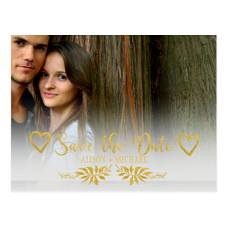 Faux gold autumn leaves photo wedding save date postcard