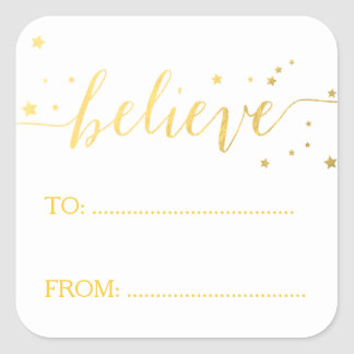 Faux Gold Believe Handwriting | Holiday Gift Tag Square Sticker