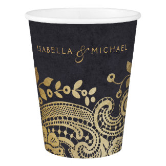 Faux gold black elegant vintage lace wedding paper cup