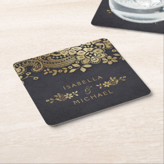 Faux gold black elegant vintage lace wedding square paper coaster