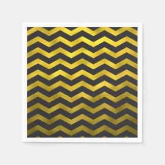 Faux Gold Black Foil Chevron Zig Zag Striped Paper Napkin