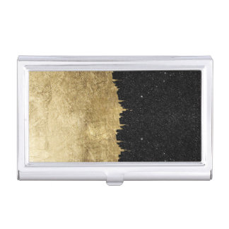 Faux Gold & Black Starry Night Brushstrokes Business Card Holder