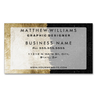 Faux Gold & Black Starry Night Brushstrokes Magnetic Business Card