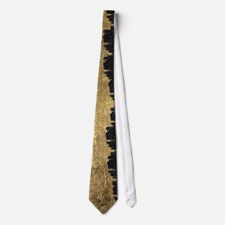 Faux Gold & Black Starry Night Brushstrokes Tie