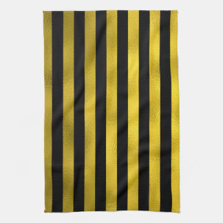 Faux Gold Black Vertical Stripes Wide Striped Kitchen Towel