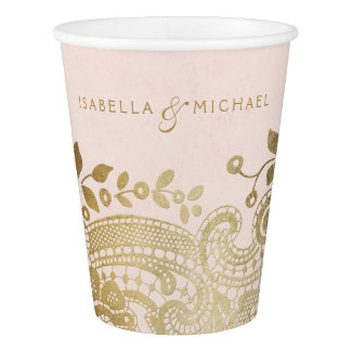 Faux gold blush elegant vintage lace wedding paper cup