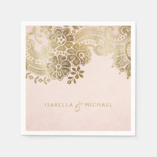 Faux gold blush elegant vintage lace wedding paper napkin