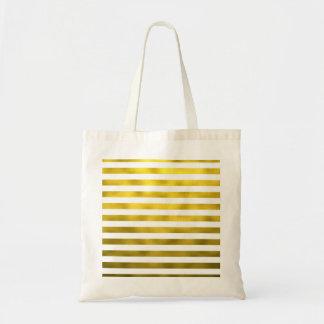 Faux Gold Bronze White Horizontal Stripes Striped