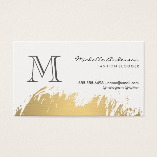 Faux Gold Brushed Monogram Business Card