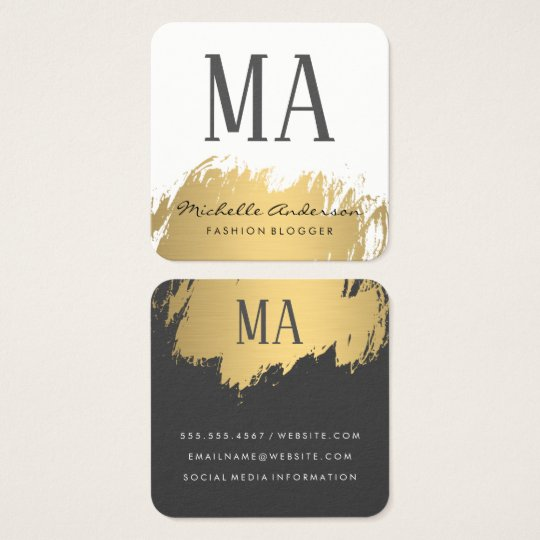 Faux Gold Brushed Monogram | Variation Square Business Card