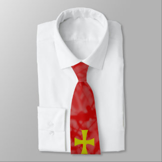 Faux Gold Byzantine Cross on Red Tie
