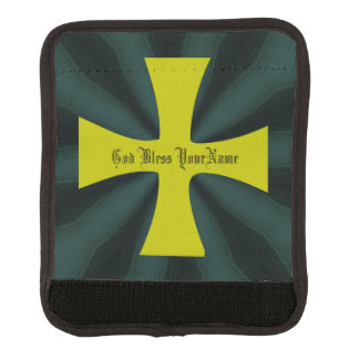 Faux Gold Byzantine Cross on Teal Luggage Handle Wrap