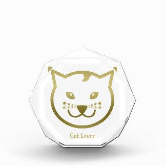 "Faux Gold Cat Face - ""Cat Lover"""