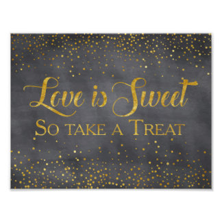 Faux Gold Chalkboard Confetti Wedding Dessert Sign Poster