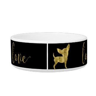 Faux Gold Chihuahua Love Black Pet Bowl