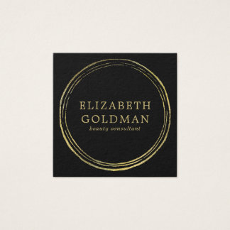 Faux Gold Circle Design Square Business Card