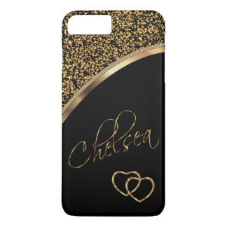 Faux Gold Confetti and Black with Script Name iPhone 8 Plus/7 Plus Case