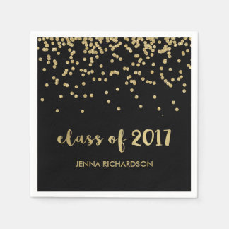 Faux Gold Confetti Black Class of 2017 Graduation Disposable Napkin