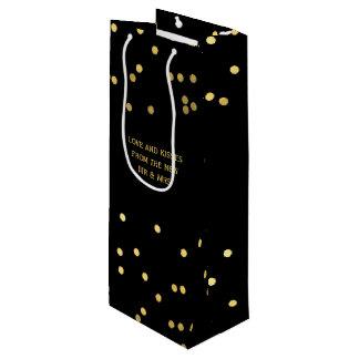Faux Gold Confetti Dots Matte Black Wine Gift Bag