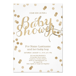 Faux Gold Confetti Modern Baby Shower Invitation